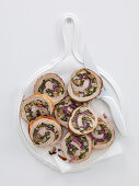Rolled roast veal stuffed with Swiss chard and caramelised onions