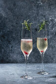 Two glasses of white champagne served with red berries and rosemary over blue texture background
