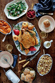 Stuffed turkey with traditional sides (USA)