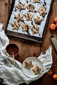 Christmas star biscuits with chocolate glaze