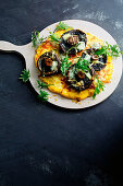 Polenta pizza with cheese and mushroom