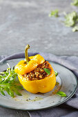 Risotto and meatloaf stuffed capsicums