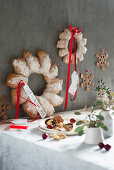 Festive bread wreaths with ribbons