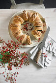 A bread wreath with a chard and ricotta filling