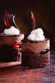 Black Forest style chocolate mousse tartlets