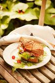 Chicken Sandwich with Tomato, Mozzarella, Lettuce on Baguette