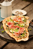 Pesto Pizza with Prosciutto and Zucchini Slices