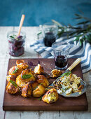 Rustic brioche croutons with blue cheese and mushroom butter