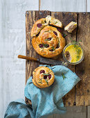 Brioche slices with sour cherries, and rosemary with chicken pie