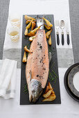 Boiled Salmon with Roasted Pears and Horseradish Sauce