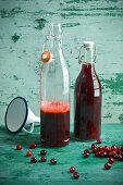 Cornelian cherry juice in bottles