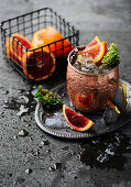 A Moscow Mule with blood orange slices