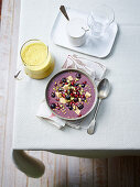 Hot Golden Milk and Blueberry Banana and Acai Bowl