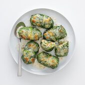 Cos lettuce roulade with a bread filling