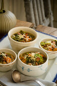Cabbage Soup in Variety of Bowls
