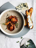 Mushroom and thyme soup with Roquefort