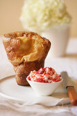 Popover with Strawberry Butter Compote
