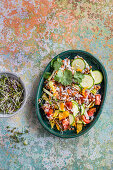 Lentil and rise salad with zucchini flowers