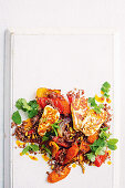 Harissa roast carrot, quinoa and haloumi salad