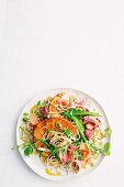 Miso roast pumpkin and beef noodle salad