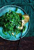 STir Fried Australian native greens, Saltbush leaves, warrigal green leaves, karkalla leaves, bower spinach leaves