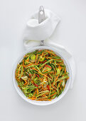 Colourful vegetables in a pan with carrots and leeks