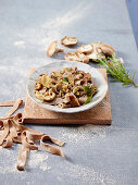 Spelt Pappardelle Pasta with Chestnuts, Mushrooms and Rosemary