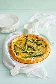 Quiche with green asparagus and new potatoes