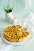 Zucchini and ham rose cake