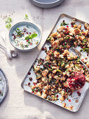 Roasted cauliflower with pomegranate seeds and mint