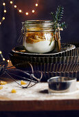 Biscuit baking mixture in a glass jar for gifting at Christmas