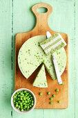 Green peas and cream cheese terrine with horseradish