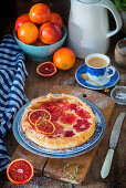 Blood orange tart served with coffee