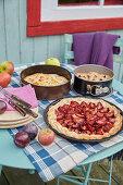 Damson tart with crème fraîche, apple cake and pear cake