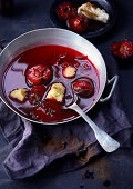 Hot fruit soup with plums