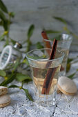 Hot damson schnapps with a cinnamon stick