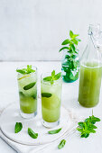 Two glasses with matcha iced tea, lime and mint leaves