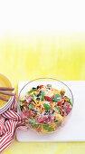 Salami and olive pasta