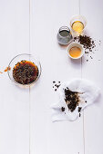 Ingredients for coffee shrub spritzer with aceto balsamico