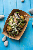 Roast potatoes with blue cheese and mushrooms