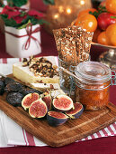 Cheese, figs, figmarmelade, nuts and dates
