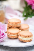 Rose macaroons filled with white chocolate