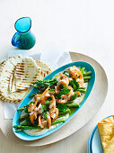 Prawns with green aspargus and hummus
