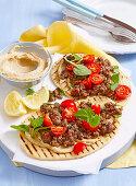 Hummus and lamb flatbreads