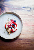 Berries and caramelised white chocolate