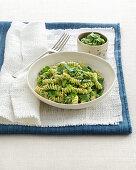 Fusilli with mange tout pesto