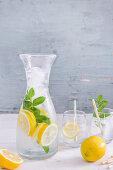 Refreshing lemon and mint water