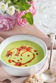 Pea Soup with Chorizo and Pangritata