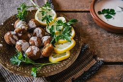 Falafel with lemon slices