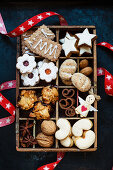 Six different cookie types for Christmas in a wooden box